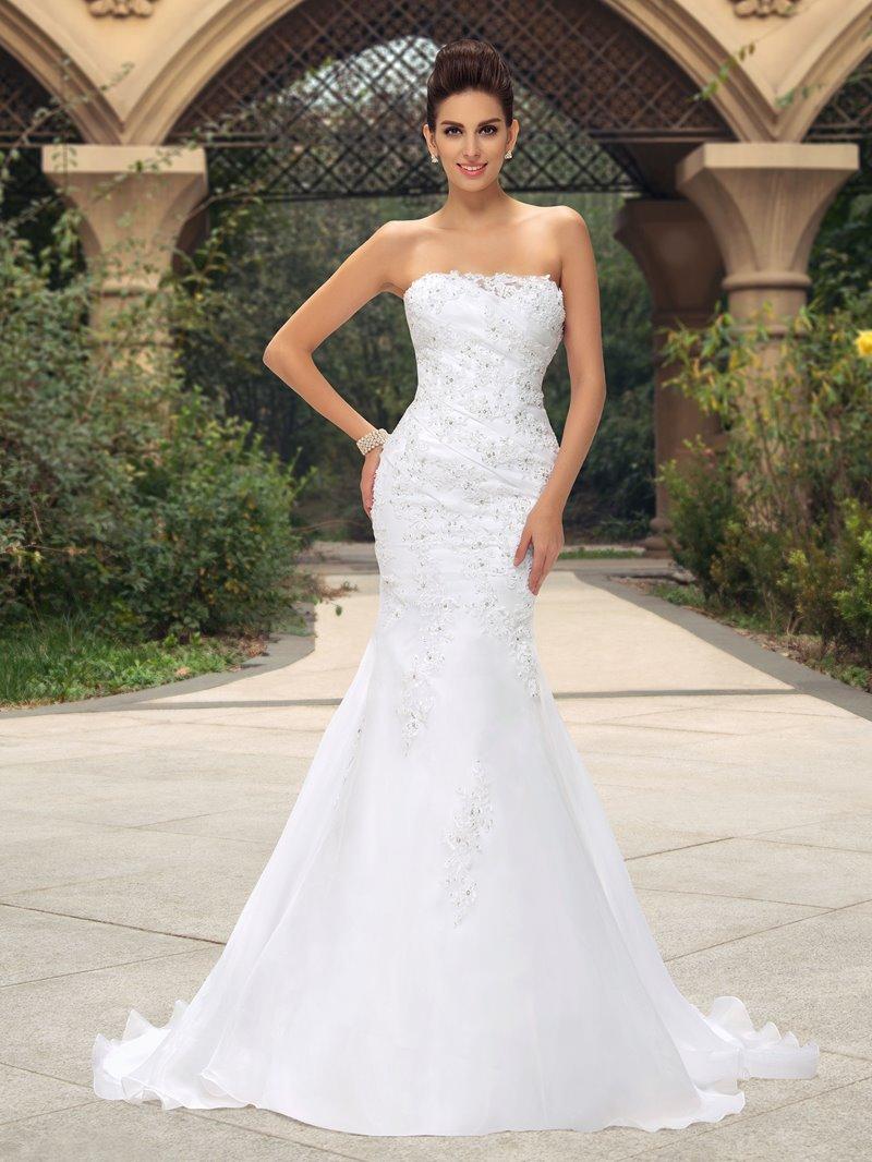 Ericdress Strapless Appliques Sequins Mermaid Wedding Dress