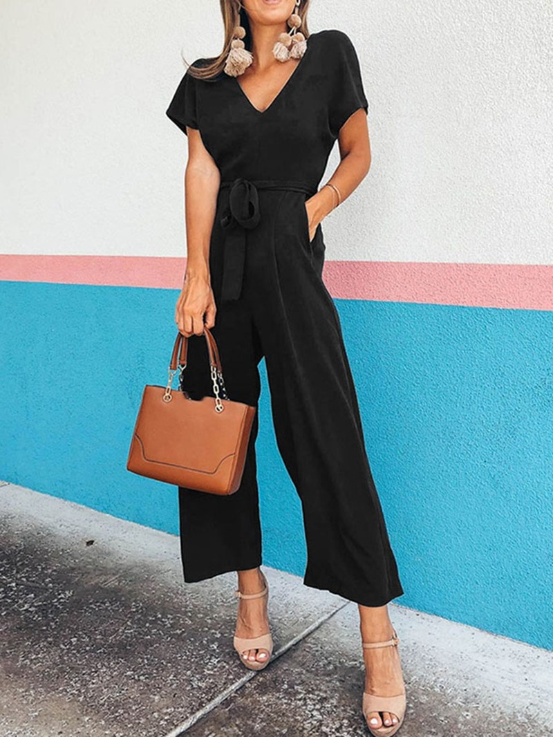 Ericdress Belt Lace-Up Plain Jumpsuit