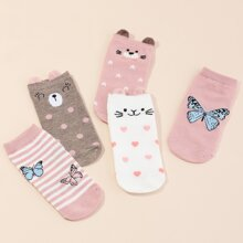 5pairs Girls Heart Pattern Socks