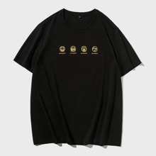 Men Expression And Letter Graphic Tee