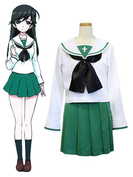 Milanoo GIRLS Und PANZER Isuzu Hana Cosplay Costume Ooarai Girls High School Uniform Halloween