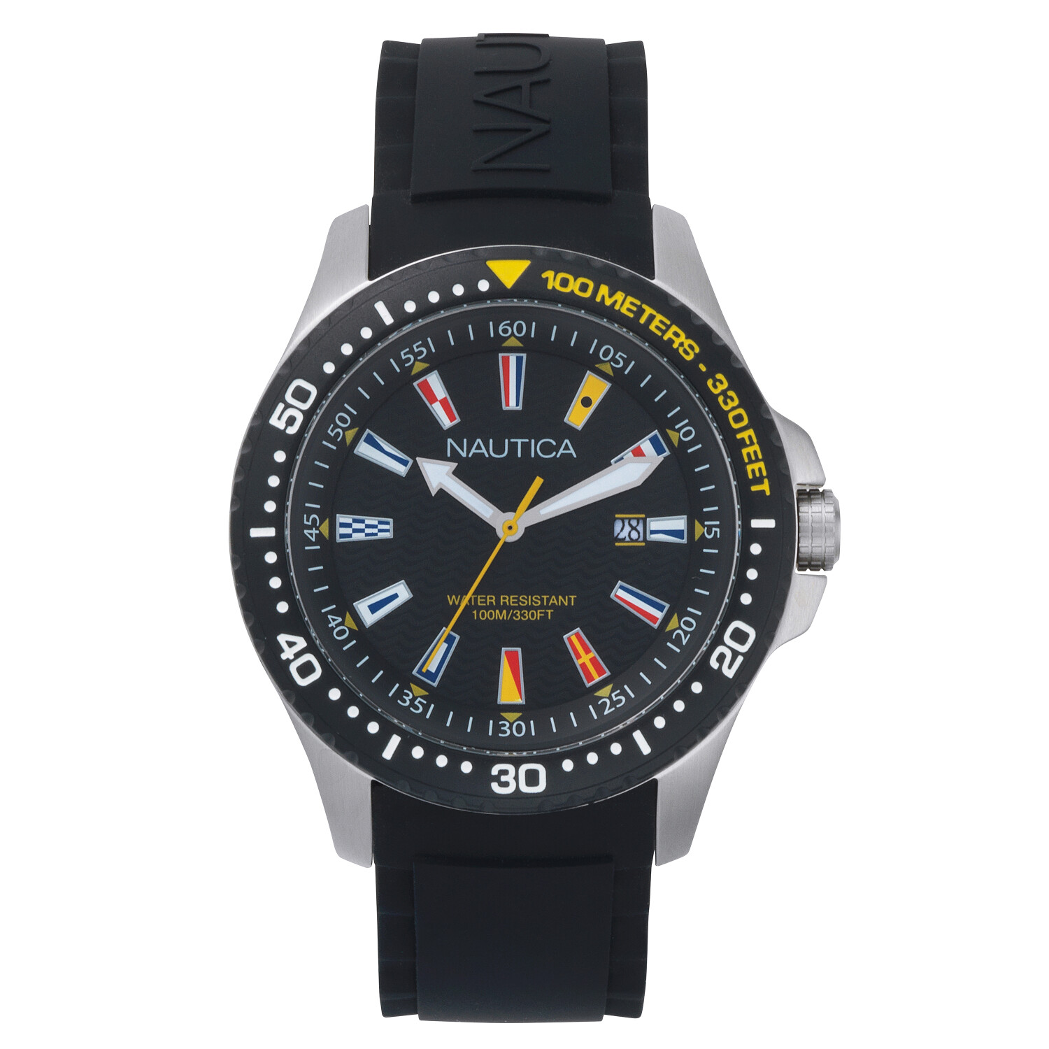 Nautica Watch NAPJBC003 Jones Beach, Analog, Water Resistant, Silicone Band, Adjustable Buckle, 3 Hand Automatic Movement, Black