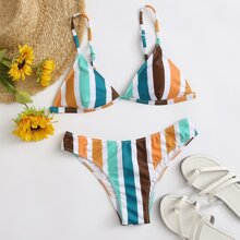 Colorful Stripe Triangle Bikini Swimsuit