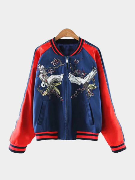 Yoins Red And Blue Splicing Jacket With Embroidery Pattern