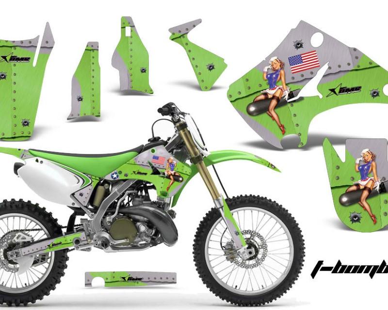 AMR Racing Dirt Bike Decal Graphics Kit Wrap For Kawasaki KX125 | KX250 2003-2016áTBOMBER GREEN