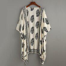Plus Floral & Tribal Print Kimono