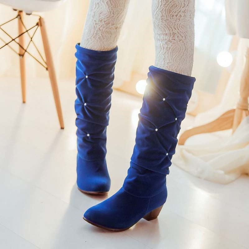 Ericdress Rhinestone Slip-On Knee-High Round Toe Women's Boots