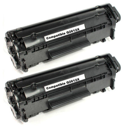 Compatible HP 12X Q2612X Black Toner Cartridge High Yield - Economical Box - 2/Pack