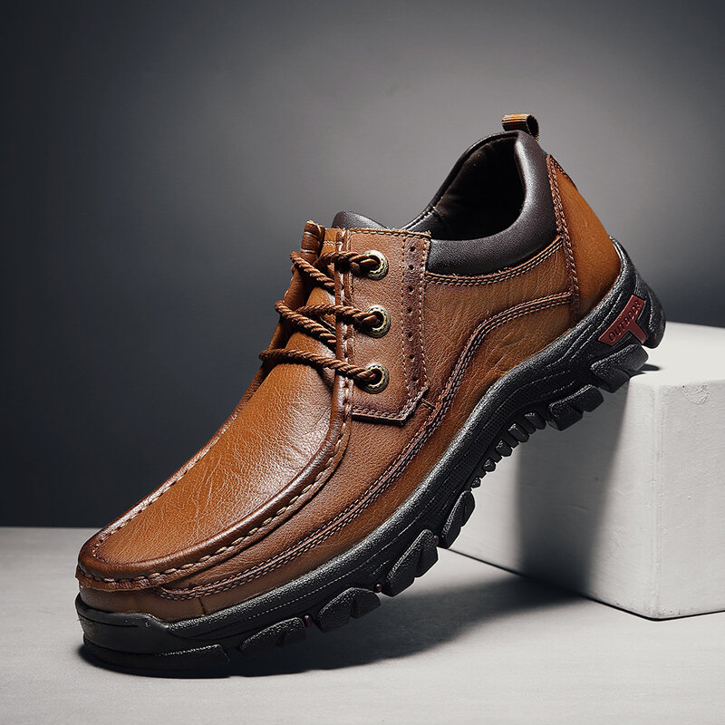 Men Round Toe Genuine Cow Leather Business Casual Shoes