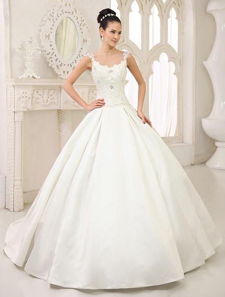 Milanoo Ivory Ball Gown Jewel Neck Sequin Chapel Train Bride's Wedding Dress