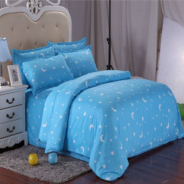 Cotton Blue Stars Moon Printing Bedding Set Bed Sheet Duvet Cover Single Twin Queen Size