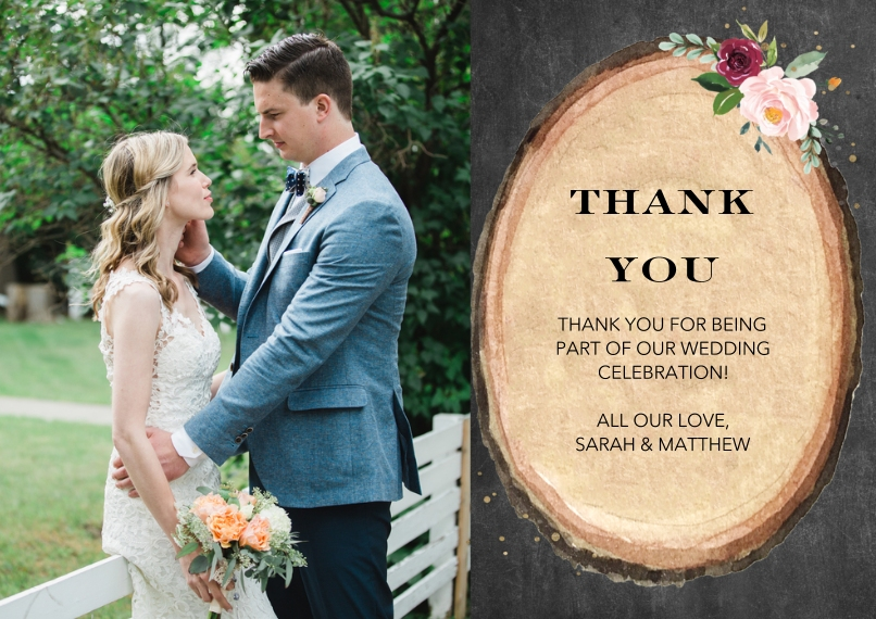 Wedding Thank You 5x7 Cards, Premium Cardstock 120lb with Rounded Corners, Card & Stationery -Wedding Thank You Wood Floral by Tumbalina