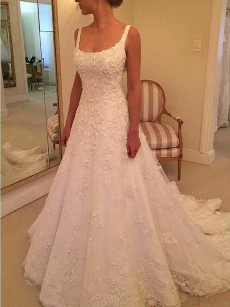 Ericdress Straps Button Appliques Lace Wedding Dress