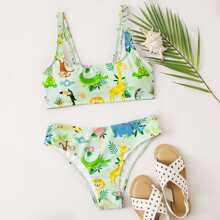 Cartoon Animal Bikini Swimsuit