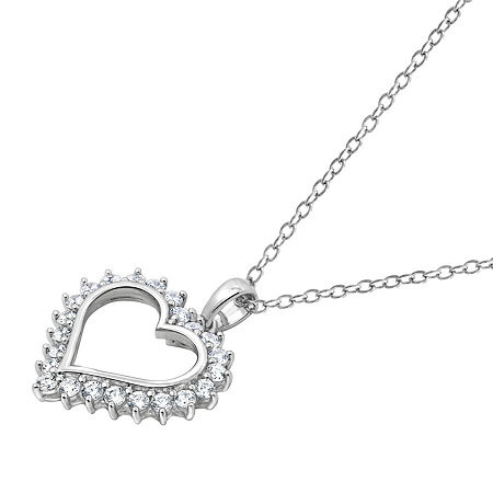 Womens 7/8 CT. T.W. White Cubic Zirconia Sterling Silver Heart Pendant Necklace, One Size , No Color Family
