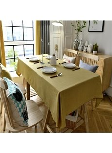 Concise and Modern Solid Yellow Color Cotton Materials Home and Restaurant Table Cloth