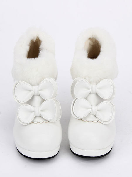 Milanoo White Lolita Booties Round Toe Special Shaped Heel Bowed Lolita Short Boots
