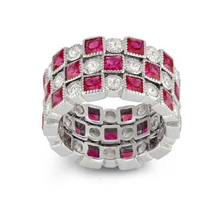 Womens Lab Created Red Ruby Sterling Silver Cocktail Ring, 8 , No Color Family