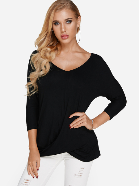 Yoins Black Pleated Design V-neck 3/4 Length Sleeves T-shirt
