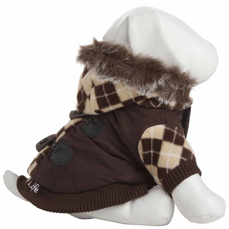 The Pet Life Designer Patterned Suede Argyle Sweater Pet Jacket, One Size , Brown