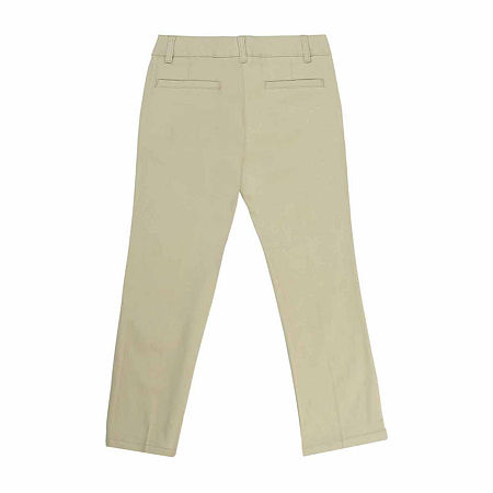 French Toast Little & Big Girls Straight Flat Front Pant, 4 , Gray