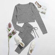 Rib-knit Top & Knot Waist Leggings Set