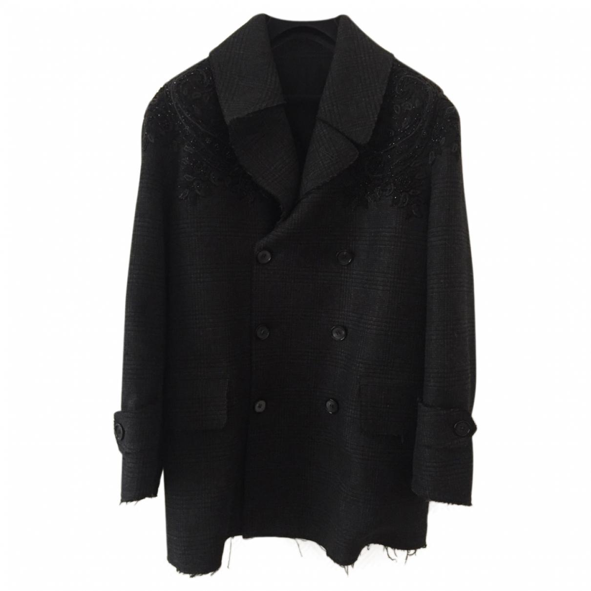 Alexander Mcqueen \N Anthracite Wool coat  for Men 48 IT