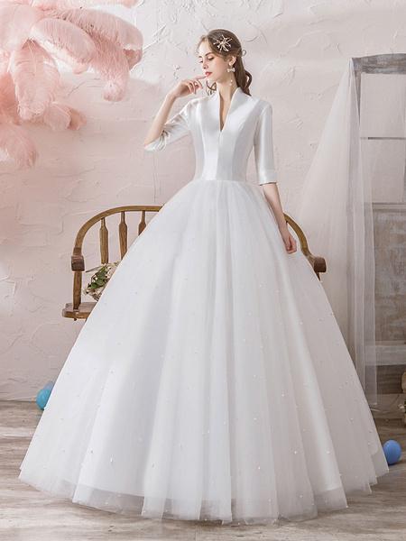Milanoo Vestidos de novia vintage Princesa Cuello alto Media manga Hasta el suelo Tul Vestidos de novia tradicionales