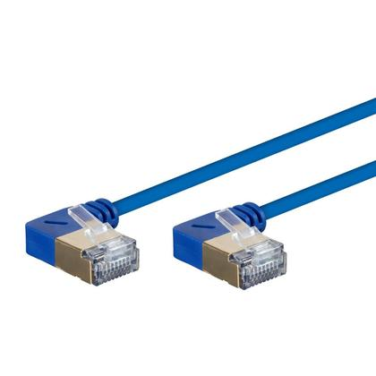 SlimRun™ Cat6A 90 Degree 36AWG S/STP Ethernet Network Cable - Blue - Monoprice® - 25ft