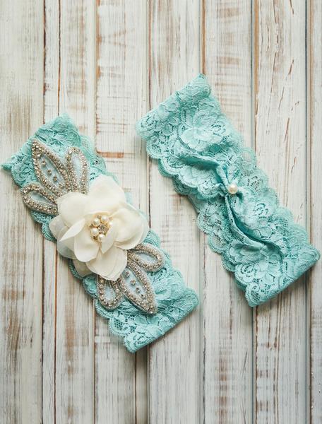 Milanoo Lace Wedding Garter Mint Green Rhinestones Pearl Beaded Bridal Garter With Flower