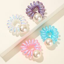 4pcs Faux Pearl Wire Hair Tie