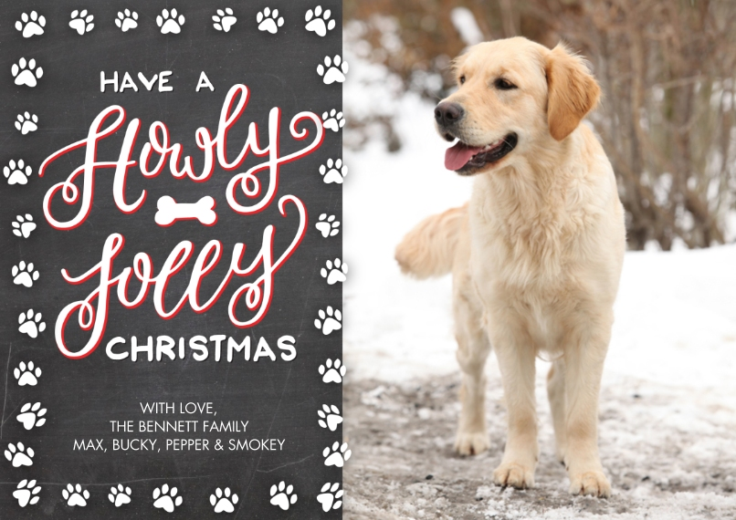 Christmas Photo Cards 5x7 Cards, Premium Cardstock 120lb, Card & Stationery -Christmas Paw Print Festive by Tumbalina