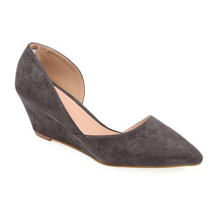 Journee Collection Womens Lenox Pumps Wedge Heel, 8 1/2 Medium, Gray