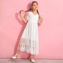 Girls Lace Trim Dobby Mesh Overlay Dress