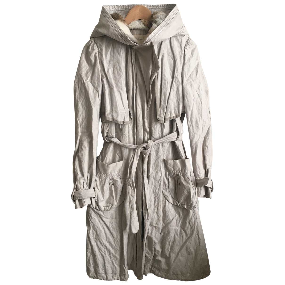 Non Signé / Unsigned \N Grey Cotton Trench coat for Women 40 IT