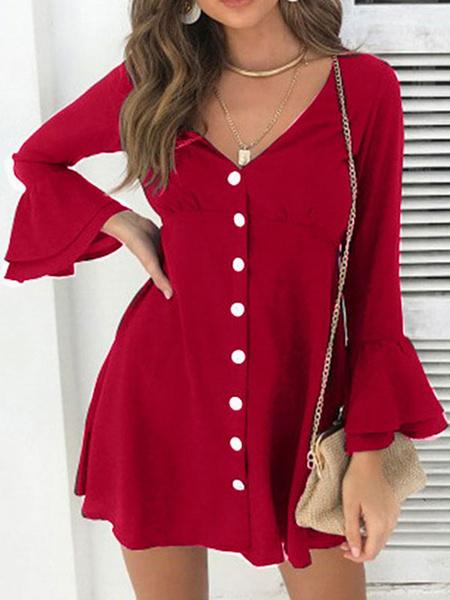 Milanoo Mini Dresses Burgundy Long Sleeves Buttons Short Dress