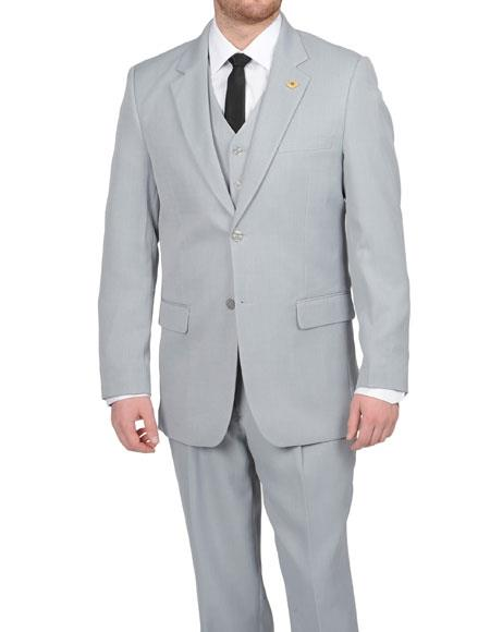 Stacy Adams Men's Silver Grey ~ Light Gray 2 Button Vested Suit