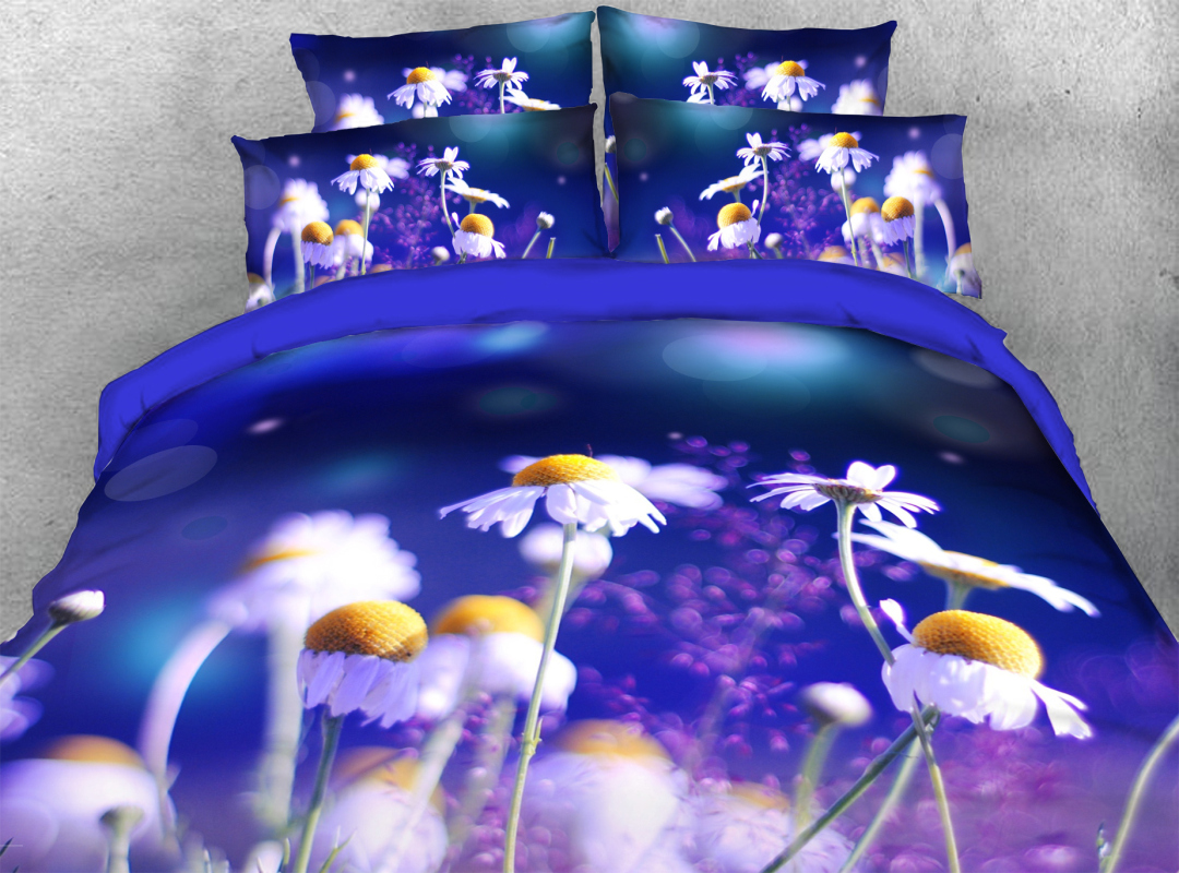 3D Daisy 4-Piece Soft Spring Floral Bedding Sets Zipper Colorfast Hard-wearing Duvet Cover with Corner Ties