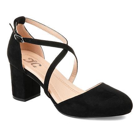 Journee Collection Womens Foster Pumps Buckle Pointed Toe Block Heel, 8 Medium, Black