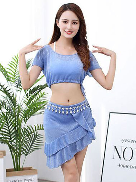 Milanoo Belly Dance Costumes Baby Blue Ruffle Irregular Belly Dance Wear For Women Halloween