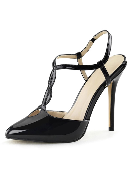 Milanoo Women Sexy Sandals Black PU Leather Pointed Toe Low Stiletto Sandals
