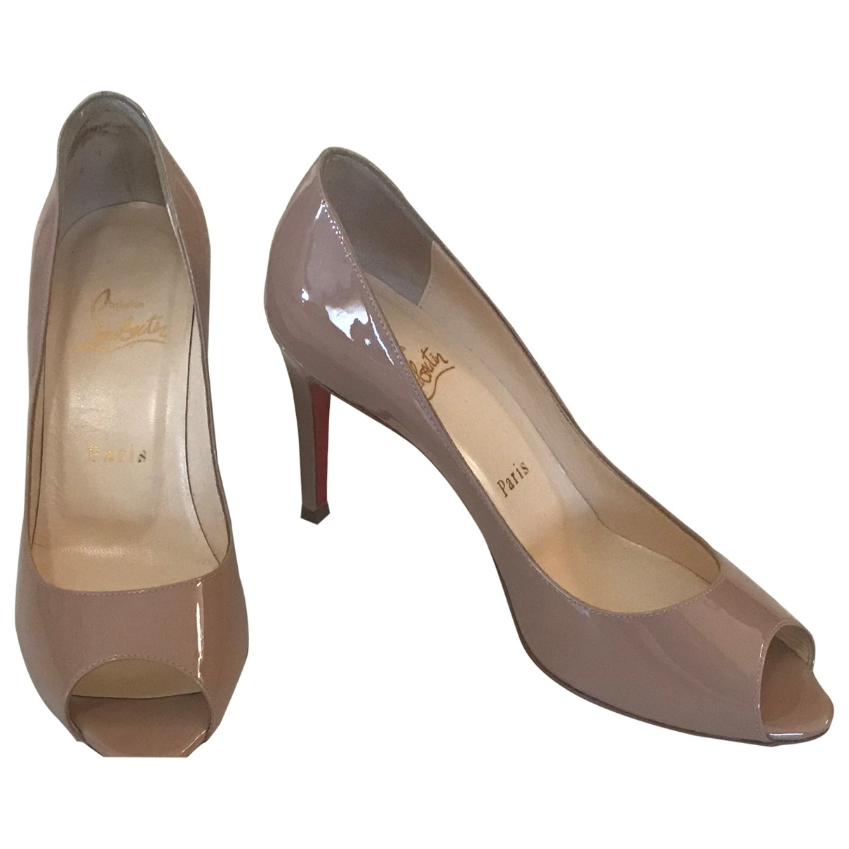 Christian Louboutin Lady Peep Beige Patent leather Heels for Women 36 EU