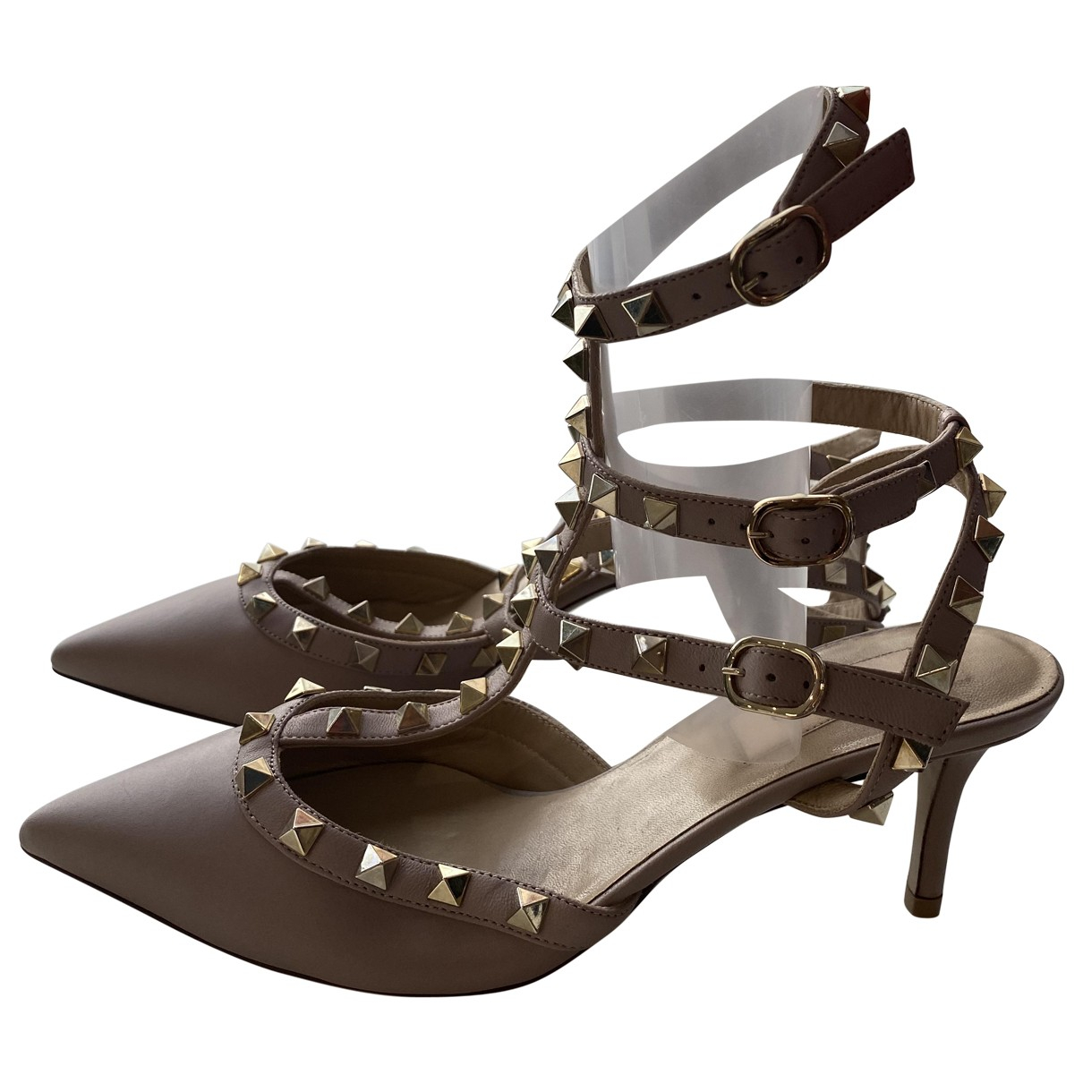 Valentino Garavani Rockstud Beige Leather Heels for Women 37.5 EU