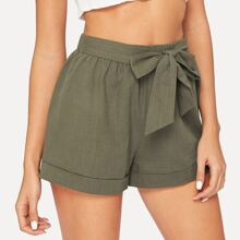 Belted Army Green Shorts