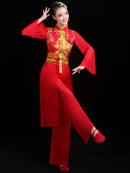 Milanoo Chinese Costumes Red Dragon Dance Costume Carnival Costumes 2 Piece Outfit