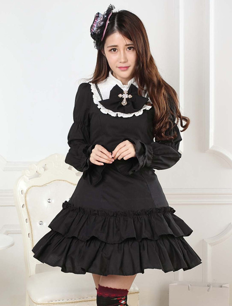 Milanoo Black Lace Polyester Lolita One-Piece